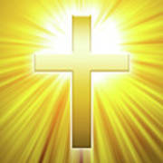 Golden Latin Cross With Sunbeams Poster