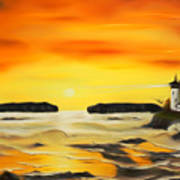 Golden Lighthouse Sunset Dreamy Mirage Poster