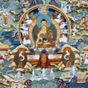 Golden Medicine Buddha Thangka Poster