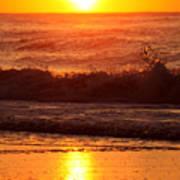 Golden Ocean City Sunrise Poster