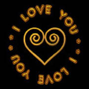 Golden Scrolled Heart And I Love You Poster