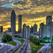 Golden Skies Atlanta Downtown Sunset Cityscape Art Poster