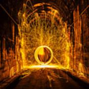 Golden Spinning Sphere Poster