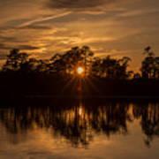 Golden Sunburst At The Lake New Jersey  Poster