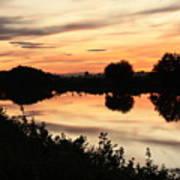 Golden Sunset Reflection Poster