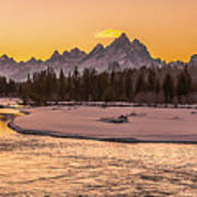 Golden Teton Sunset Poster