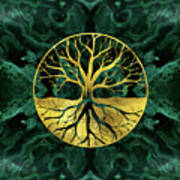 Golden Tree Of Life Yggdrasil On Malachite Poster