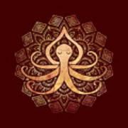 Golden Zen Octopus Meditating Poster