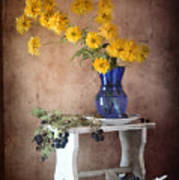 Goldenglow Flowers In Blue Vase Poster