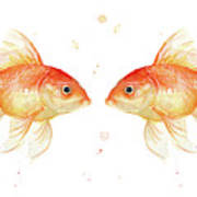 Goldfish Love Watercolor Poster