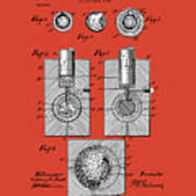 Golf Ball Patent Drawing Red Poster