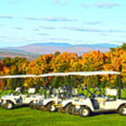 Golf Carts On Vermont Golf Course Poster
