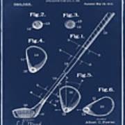 Golf Club Patent 1910 Blue Poster