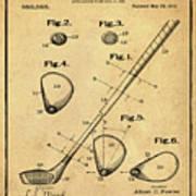 Golf Club Patent 1910 Sepia Poster