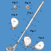 Golf Club Patent Drawing Blue Poster