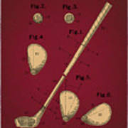 Golf Club Patent Drawing Dark Red 2 Poster