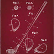 Golf Club Patent Drawing Dark Red Poster