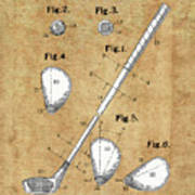 Golf Club Patent Drawing Vintage Poster