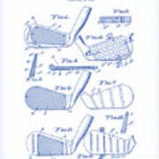 Golf Clubs Patent Drawing Poster