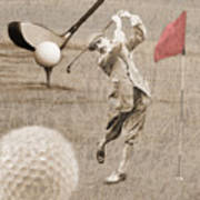 Golf Red Flag Vintage Photo Collage Poster