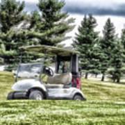 Golfing Before The Rain Golf Cart 03 Poster