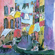 Gondola In A Venetian Canal Poster
