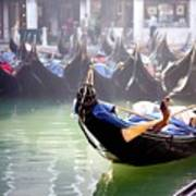 Gondola In Venice In The Morning Poster