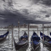 Gondolas In Front Of San Giorgio Island Poster