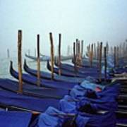 Gondolas In Venice In The Morning Poster