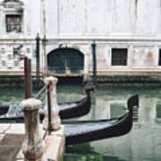 Gondolas On A Canal In Venice, Italy Poster