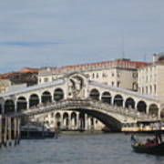 Gondolier Approching The Rialto Poster