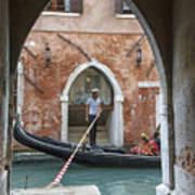 Gondolier In Frame Venice Italy Poster