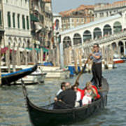 Gonfolas On Venice Canal At Rialto Bridge Poster