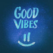 Good Vibes  Funny Smiley Statement Happy Face Blue Stars Edit Poster