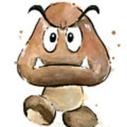 Goomba Watercolor Poster