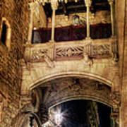 Gothic Bridge At Night In Barcelona 2 Poster