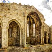 Gothic Temple Ruins - San Domingos - Vintage Version Poster