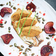 Gourmet Fish Fillet With Chickpea Curry Puree Meal Poster