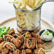 Gourmet Fried Octopus Calamari Style Set Meal With Fries Poster
