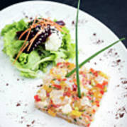 Gourmet Raw Tuna Tartare Ceviche With Mango Lime And Chilli Poster