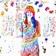 Grace Slick Jefferson Airplane Paint Splatter Poster