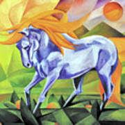 Graceful Stallion With Flaming Mane Poster