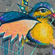 Graffiti Art Of A Colorful Bird Along Street IIn Hilly Valparaiso-chile Poster