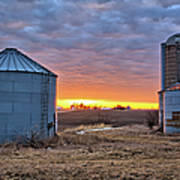 Grain Bin Sunset 2 Poster