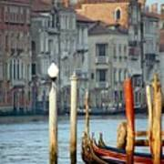 Grand Canal In Venice With Light On Pole Poster