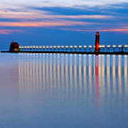 Grand Haven Pier Lights At Night Poster