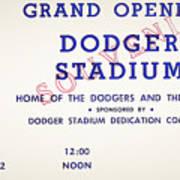 Grand Opening Dodger Stadium Ticket Stub 1962 Poster