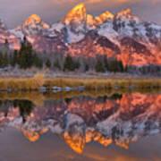 Grand Teton Snake River Sunrise Reflections Poster