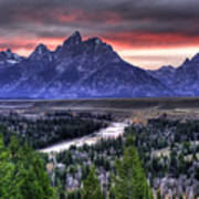 Grand Teton Sunset Poster
