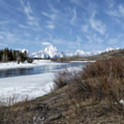Grand Tetons From Oxbow Bend At A Distance Poster